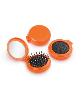 Espejo con cepillo redondo para cabello - Naranja