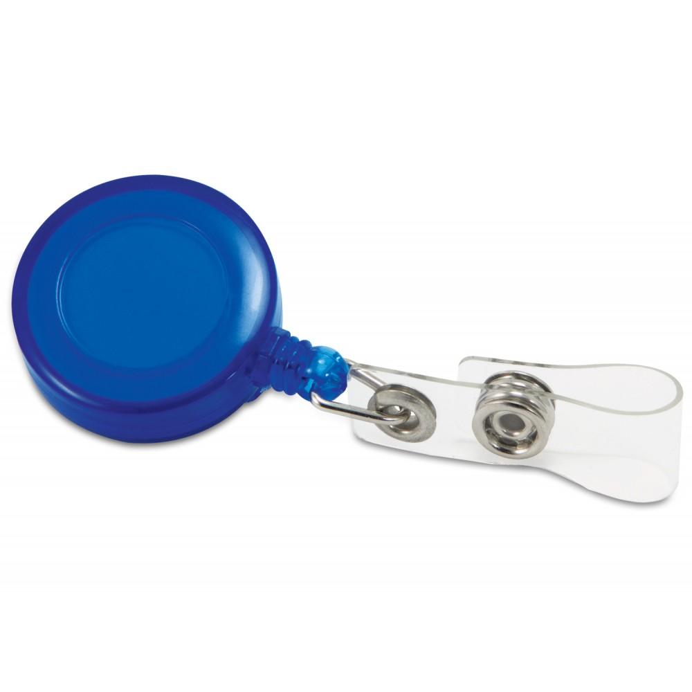 Portacarne Identificador Redondo con Line Retractil - Azul Traslucido