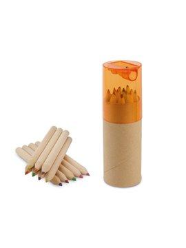 Kit 12 Colores Eco en estuche de Carton Tapa Sacapuntas - Naranja