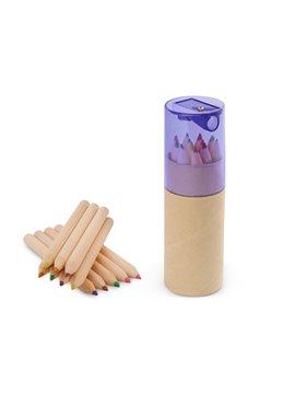 Kit 12 Colores Eco en estuche de Carton Tapa Sacapuntas - Morado