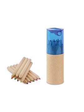 Kit 12 Colores Eco en estuche de Carton Tapa Sacapuntas - Azul