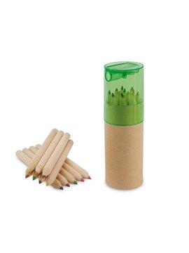 Kit 12 Colores Eco en estuche de Carton Tapa Sacapuntas - Verde