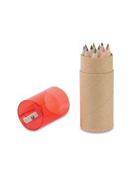 Kit 12 Colores Eco en estuche de Carton Tapa Sacapuntas - Rojo
