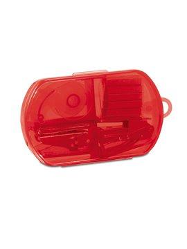 Kit de Oficina con perforadora cinta cosedora y ganchos - Rojo