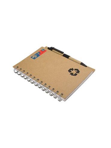 Libreta Cuaderno doble O A5 80 hojas con Boligrafo - Negro