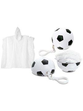 Llavero Futbol con Capa Impermeable Mosqueton Plastico - Blanco/Negro