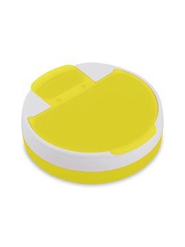 Pastillero Rotary plastico redondo 4 compartimentos - Amarillo