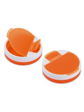 Pastillero Rotary plastico redondo 4 compartimentos - Naranja