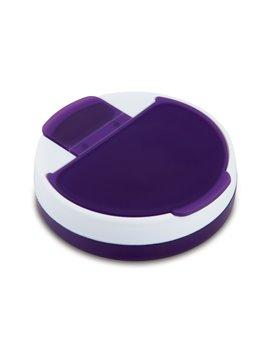 Pastillero Rotary plastico redondo 4 compartimentos - Morado