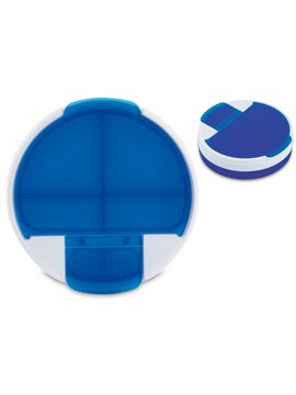 Pastillero Rotary plastico redondo 4 compartimentos - Azul