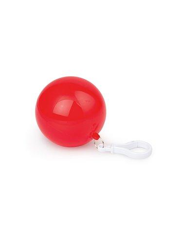 Bola plastica con capa Impermeable con mosqueton - Rojo