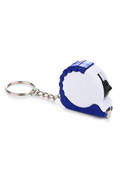 Llavero Mini Flexometro de Bolsillo de 1 m Retractil - Blanco / Azul