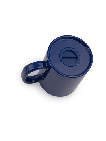 Alcancia en forma de Mug con tapa inferior - Azul