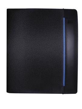 Carpeta Portadocumentos en Microfibra con Elastico y Bloc A4 - Negro/Azul