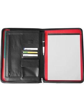 Carpeta Portadocumentos Priority con Bloc Hojas A4 Lisas - Negro/Rojo