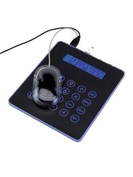 Mouse Pad Con Luz Teck 3 Puertos USB con Calculadora y Cable - Negro