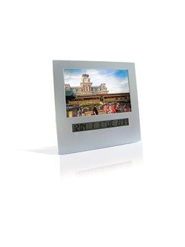 Reloj Portrarretrato Alarma Calendario y mide Temperatura - Plateado