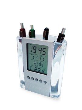 Reloj Digital Porta Boligrafos con Frente Metalizado Desmontable - Plateado