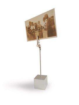 Memo Holder en Forma de Cubo con Clip Toma Papeles Metalico - Plateado