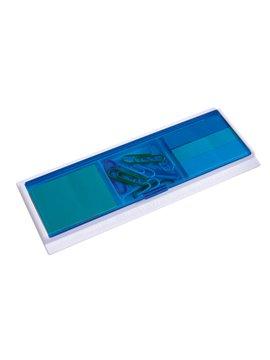 Set Para Oficina con Blocks Autoadhesivos de Tapa Traslucida - Azul
