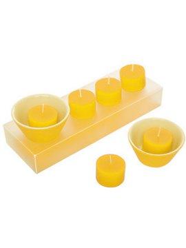 Set de 6 unidades de Velas Zensu y 2 Porta Velas En Ceramica - Amarillo