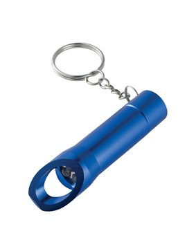 Llavero Destapador Con Linterna LED Encendido con Boton - Azul