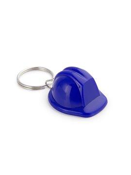 Llavero con diseno de casco de constructor - Azul