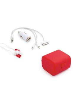 Set Charger Case Cargador auto cable iphone 4/4s audifonos - Rojo