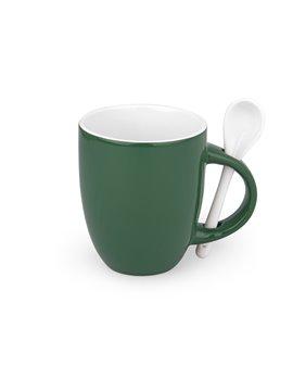 Mug Ceramica Whitespoon Redondo Con Cuchara 12 Oz Colores - Verde
