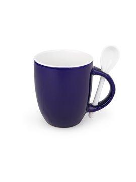 Mug Ceramica Whitespoon Redondo Con Cuchara 12 Oz Colores - Azul
