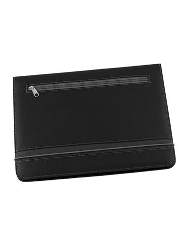 Carpeta Estuche Portafolio A4 Crown Calculadora 8 digitos - Negro/Gris