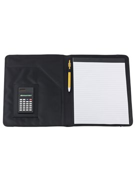 Carpeta Estuche Portafolio A4 Crown Calculadora 8 digitos - Negro/Azul