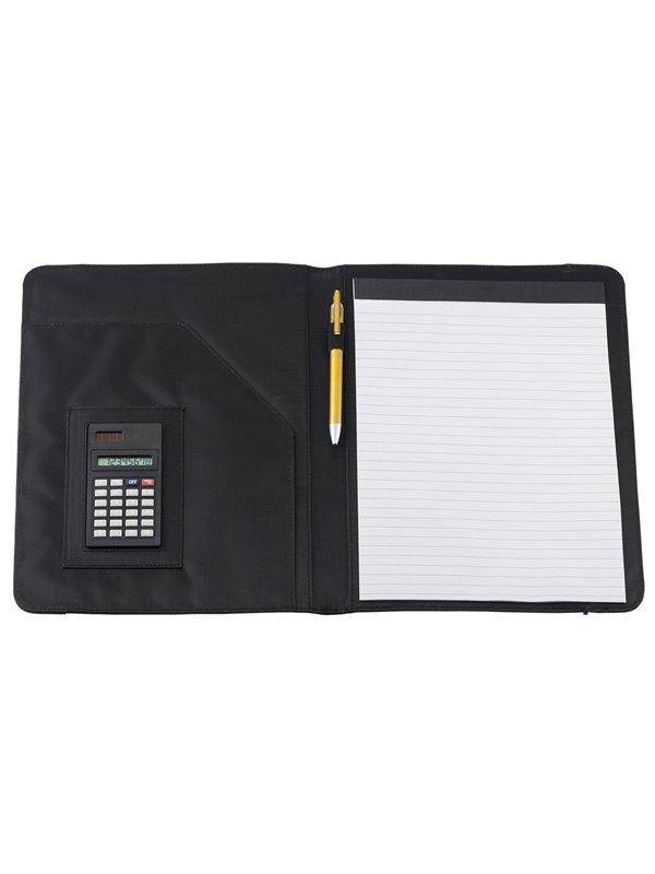 Carpeta Estuche Portafolio A4 Crown Calculadora 8 digitos - Negro/Azul