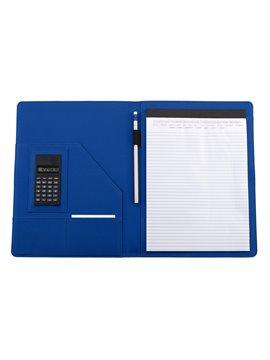 Carpeta String Con Calculadora Interna Cierre Elastico - Azul