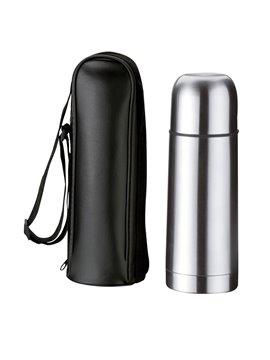 Botella Termo Bullet 350 Ml Estuche Negro Con Agarradera - Plateado