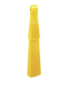Abanico De 14 Brazos En Plastico y Tela Un Solo Tono - Amarillo