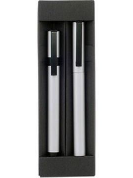 Set de Esferos Boligrafos Eros Clip Metalico Negro y Estuche - Plateado