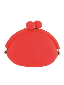 Mini Monedero En Silicona Sistema De Apertura Con Perlas - Rojo