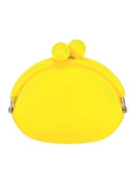 Mini Monedero En Silicona Sistema De Apertura Con Perlas - Amarillo