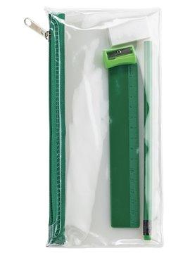 Set Escolar En Cartuchera Plastica PVC Cierre De Cremallera - Verde