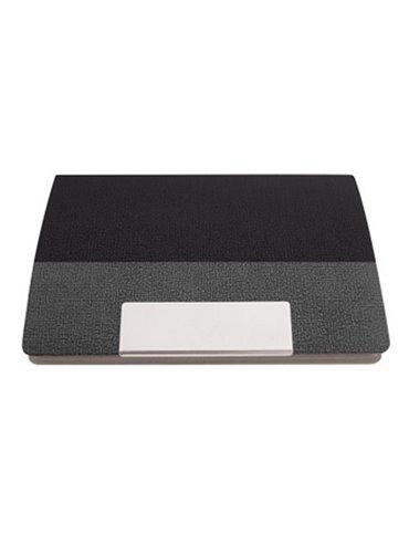Tarjetero Exterior Vinilo Textuado Placa Metalica Imantado - Negro