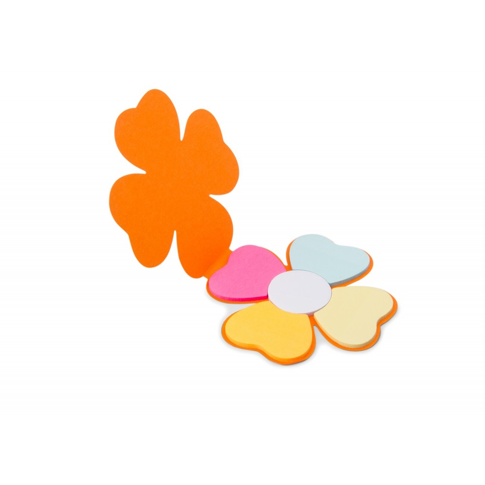 Set de Cinco Memos Adhesivos Flower Forma de Flor - Naranja