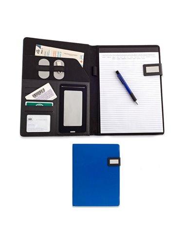 Folder Libreta En Microfibra London Con Cierre De Iman - Azul Rey