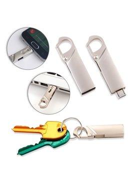 USB Metalica Giratoria Con Micro USB Carabinero 2 en 1 - Plateado