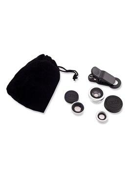 Set de Lentes En Vidrio Universal para Moviles y Tablets - Negro/Plateado