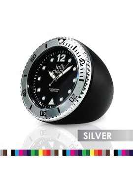 Reloj de Escritorio Lolliclock Rock Con Bisel Giratorio - Silver/Negro
