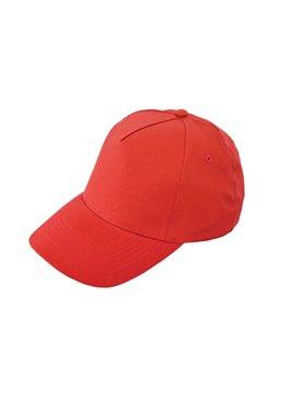 Gorra Cachucha Poliester 5 Cascos Velcro Ojetes Bordados - Rojo