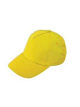 Gorra Cachucha Poliester 5 Cascos Velcro Ojetes Bordados - Amarillo