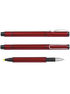 Esfero Boligrafo con Resaltador Bangkok Metalizado - Rojo