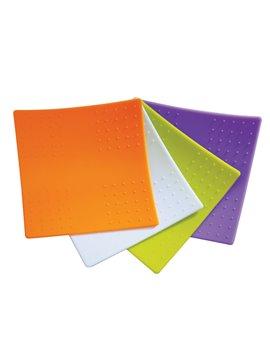 Set de 4 Portavasos Multiproposito en Silicona Facil Lavado - Multicolor